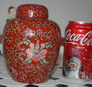 Fine Antique Chinese Export Iron Red Ginger Jar With Cover
