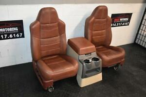 99 2010 Ford Sd F250 F350 King Ranch Rear Leather Buckets Seats