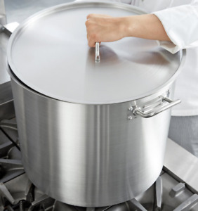 Heavy Duty Stock Pot Round Cover Kitchen Stainless Steel Aluminum Clad 80 Quart