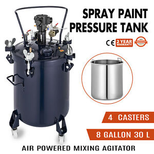 8 Gallon 30l Spray Paint Pressure Pot Tank 30 Liters Painting Roll Caster Pro