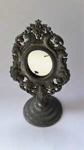 Vintage Antique Princess Mirror Stand Decorated Metal 1900s Movable Old Last One