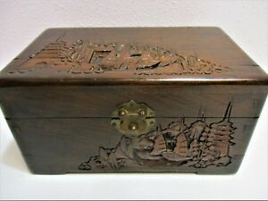 Antique Japanese Wood Box Hand Carved 100 Years Old Dovetailed 9 3 8 Large