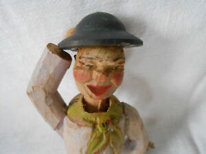 Vintage Hand Carved Wood Man W Moveable Hands Top Cover With Hat Colors Rare