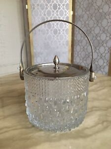 Vintage Glass Ice Bucket Biscuit Barrel Silver Plated Lid Handle