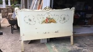 Antique French Painted Bed Queen Full Headboard Boucher Scene