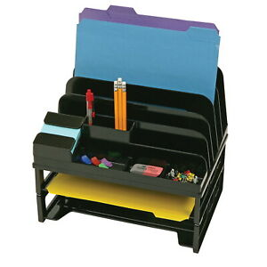 Officemate Side Load Sorter And Organizer With 2 Letter Trays Black
