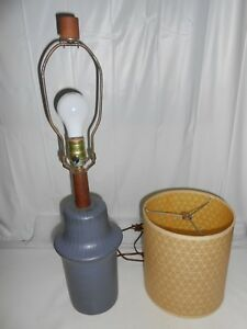 60s Signed Martz Lamp W Org Finial Shade Mid Century Modern Steel Blue Ceramic