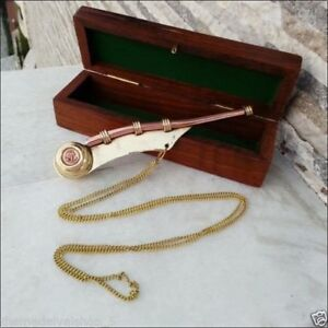 5 5 Brass Copper Boatswain Whistle W Wooden Box Bosun Call Pipe Maritime Gift