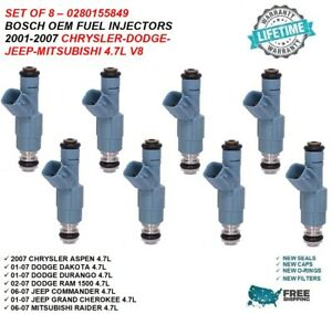 Bosch Oem Fuel Injectors 8x For 2001 2007 Dodge Dakota durango ram 1500 4 7l