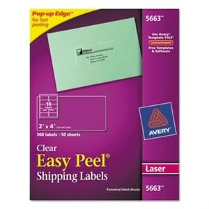 Easy Peel Laser Mailing Labels 2 X 4 Clear 500 box