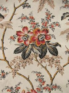 Antique Fabric French Printed Daybed Cover Or Drape C1870 Textile