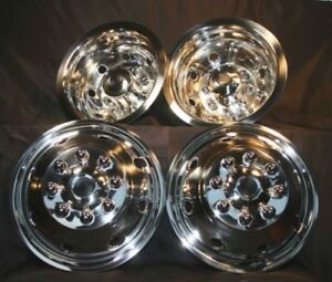 4 Ford 16 Dual Wheel Simulators Hub Caps Full Rim Skins Deep Dish Domed Covers