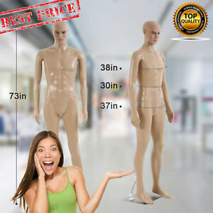 Male Full Body Realistic Mannequin Display Head Turns Dress Form Wbase 73