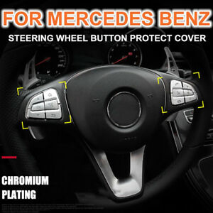Abs Electroplating Steering Wheel Button Protect Cover Sticker For Mercedes Benz