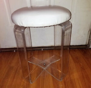 Vintage Mid Century Lucite Vanity Stool Bench White Clear 60 70 S