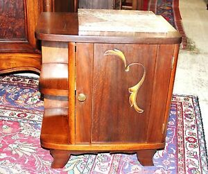 French Antique Art Deco Oak Marble Top Nightstand Side Cabinet Lamp Table