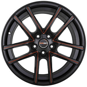 4 Gwg Zero 18 Inch Staggered Black Red Mill Rims Fits Pontiac Gto 2004 2006