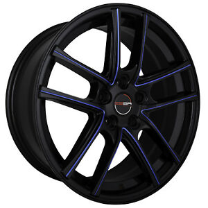 4 Gwg Zero 18 Inch Staggered Black Blue Mill Rims Fits Ford Mustang Gt 2005 2018