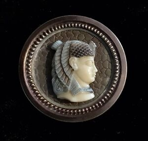 Fabulous Antique Egyptian Revival Button W Tinted Ivoroid Celluloid Cleopatra