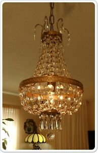 Vintage Petite Crystal Prisms Basket Chandelier With Ceiling Canopy