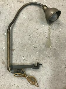 Vintage Logan Lathe Lamp Cast Clamps To The Bottom Of The Bed Gooseneck Flexable