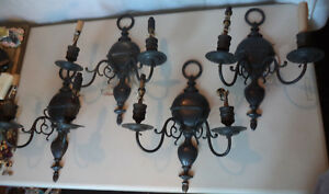 4 Vintage 1930 S Georgian Style Blackened Brass Candle Stick Holder Wall Sconces