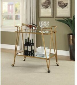 Rosa Gold Mid Century Bar Cart