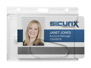 Sicurix Rigid Vertical Badge Holder With Thumb Slot 2 1 2 X 3 1 2 In