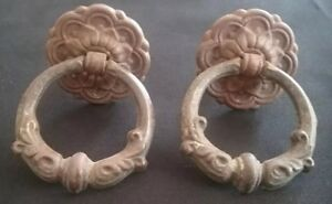 Antique 2 Matching Small Brass Dresser Stand Drawer Pulls Handles Round Patina