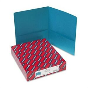 Two pocket Portfolio Embossed Leather Grain Paper Teal 25 box 2 Pack