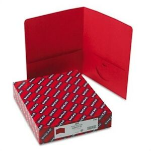 Two pocket Portfolio Embossed Leather Grain Paper Red 25 box 2 Pack