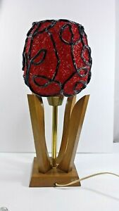 Vintage Spaghetti Red And Black Lamps Mid Century Modern Lighting Decor