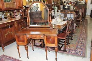 American Antique Burled Walnut Dresser Vanity With Mirror Bedroom Furniture