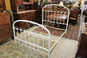 English Antique Iron Brass White Full Size Bed Frame Bedroom Furniture