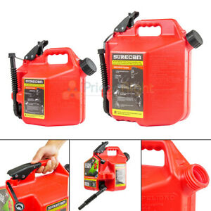 Surecan 2 2 And 5 Gallon Self Venting Gas Cans W Rotating Spout Nozzles Red