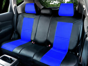Leather Like Car Seat Covers Semi Custom For Rear Bench Split Seats blak blue