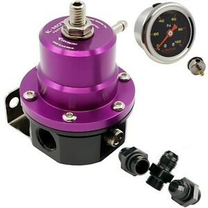 K motor Universal Fuel Pressure Regulator Kit An6 6an Fittings Gauge Adjustable