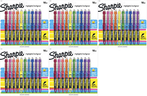 Sharpie Liquid Highlighters Chisel Tip Assorted Colors 10 Count pack Of 5