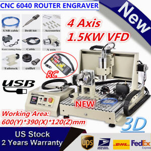 Usb 4 Axis Cnc 6040 Router Engraver 1 5kw Vfd Metal Wood Carving Machine W Rc
