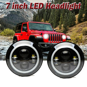 Super Bright Osram 7 led Halo Headlights Combo Round Kit For Jeep Wrangler
