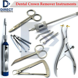 Range Of Dental Crown Remover Instruments Automatic Manual Forceps Gauge Scissor