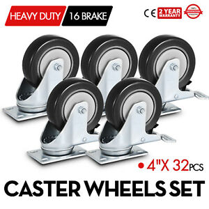 32 Pack 4 Inch Swivel Plate Casters W 16 Brakes Black 130kg 280lbs Per Caster