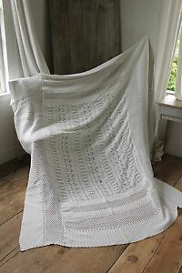 Coverlet Vintage French Bedcover Crochet Lace Handmade Knitted Blanket Textile