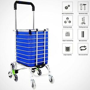 Folding Shopping Cart Heavy Duty For Grocery Durable With Swivel Wheels Bearings