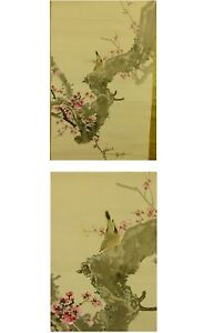 Japanese Painting Hanging Scroll Japan Plum Antique Vintage Drawing Picture 485i