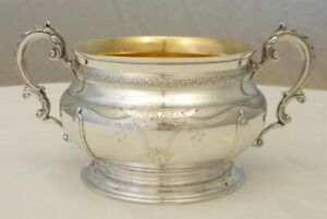Amazing Bowl Solid English Sterling Silver Gilt B 1924 365g Masterpiece