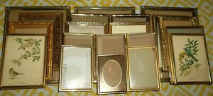 Vintage Lot 20 Double Hinged Trifold Gold Ornate Gilted Metal Art Picture Frames