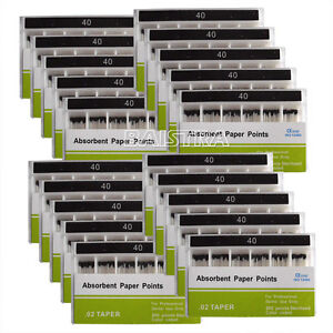20kits Dental Disposable Absorbent Paper Points For Root Endo 40 Taper 0 02