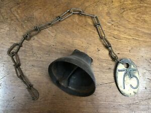 Vintage Lucky No 75 Antique Brass Old Cow Tag 2 Sided With Chain Farm Rusty