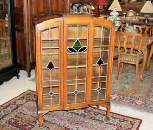 English Antique Oak Leaded Glass Arts Crafts Bureau Bookcase Display Cabinet
